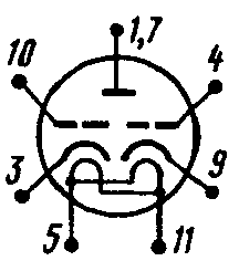 Схема соединения электродов лампы 6С46Г