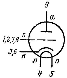 Схема соединения электродов лампы 6С4П