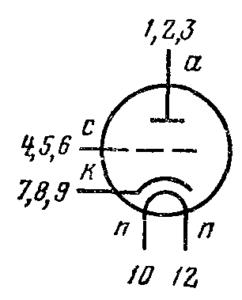 Схема соединения электродов лампы 6С51Н