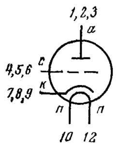 Схема соединения электродов лампы 6С62Н
