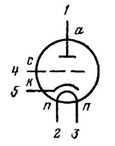 Схема соединения электродов лампы 6С6Б