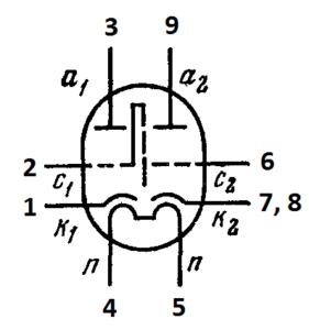 Схема соединения электродов лампы 6Н14П
