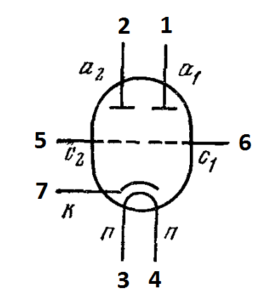 Схема соединения электродов лампы 6Н15П