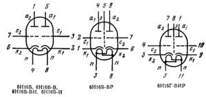 Схема соединения электродов ламп 6Н16Б, 6Н16Б-ВР, 6Н16Г-ВИР
