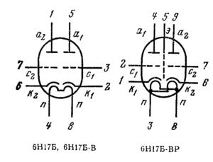 Схема соединения электродов лампы 6Н17Б