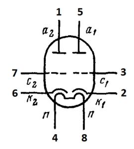 Схема соединения электродов ламп 6Н18Б, 6Н18Б-В