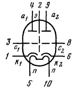 Схема соединения электродов лампы 6Н21Б