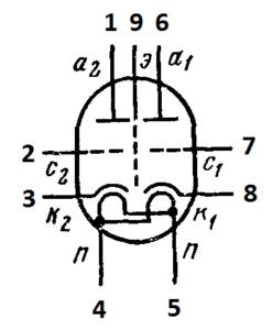 Схема соединения электродов лампы 6Н23П