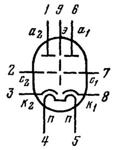 Схема соединения электродов лампы 6Н27П