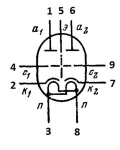 Схема соединения электродов лампы 6Н27Б-В