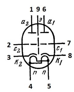 Схема соединения электродов лампы 6Н30П-ДР