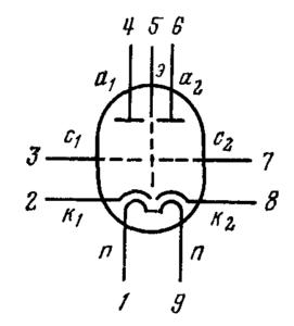 Схема соединения электродов лампы 6Н3П