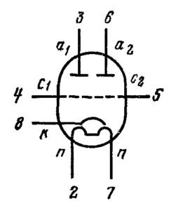 Схема соединения электродов лампы 6Н7С
