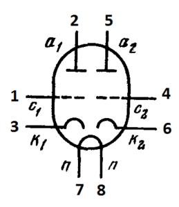Схема соединения электродов лампы 6Н9С