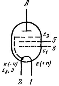 Схема соединения электродов лампы 1Ж18Б