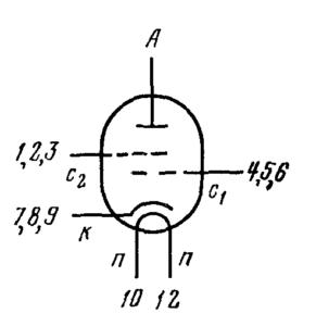 Схема соединения электродов лампы 6Э12Н