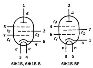 Схема соединения электродов ламп 6Ж1Б, 6Ж1Б-В, 6Ж1Б-ВР