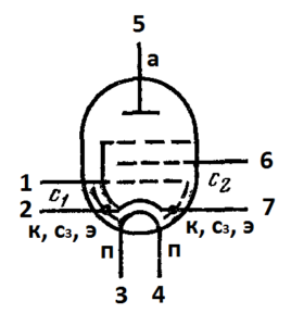 Схема соединения электродов лампы 6Ж1П