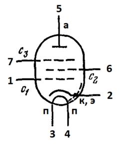 Схема соединения электродов лампы 6Ж2П