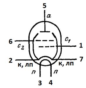 Схема соединения электродов лампы 6Ж3П