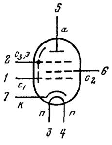 Схема соединения электродов лампы 6Ж4П