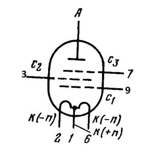 Схема соединения электродов лампы 1П22Б