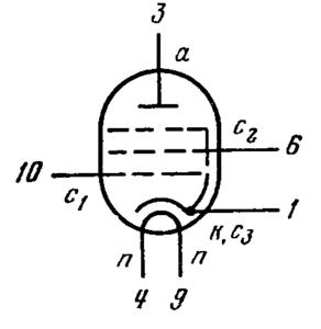 Схема соединения электродов лампы 6К14б