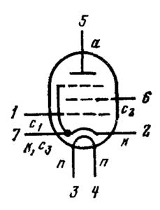 Схема соединения электродов лампы 6К1П