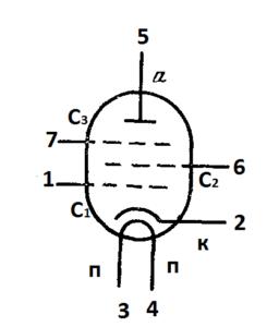 Схема соединения электродов лампы 6К8П