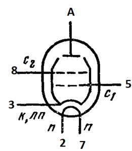 Схема соединения электродов лампы 6П13С
