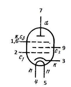 Схема соединения электродов лампы 6П15П