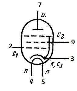 Схема соединения электродов лампы 6П18П