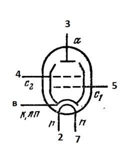 Схема соединения электродов лампы 6П3С