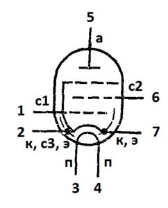 Схема соединения электродов лампы 6Ж38П