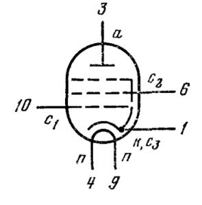 Схема соединения электродов лампы 6Ж45Б-В