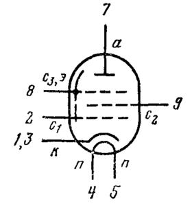 Схема соединения электродов лампы 6Ж49П-Д