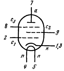 Схема соединения электродов лампы 6Ж52П