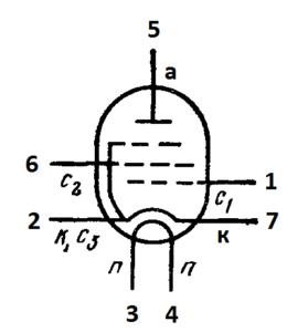 Схема соединения электродов лампы 6Ж53П