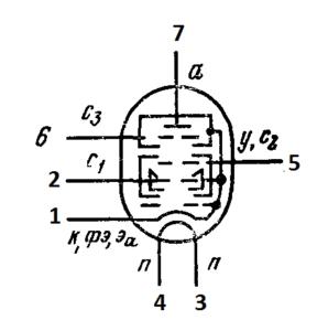 Схема соединения электродов лампы 6А3П