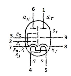 Схема соединения электродов лампы 6Ф1П