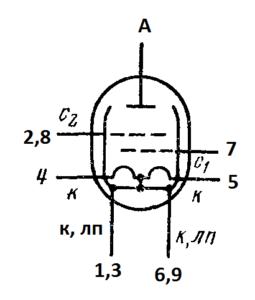 Схема соединения электродов лампы 6П23П
