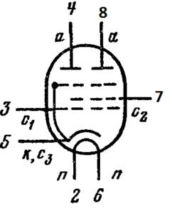 Схема соединения электродов лампы 6П30Б-Р, 6П30Б-ЕР