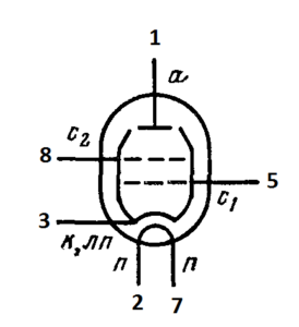 Схема соединения электродов лампы 6П34C