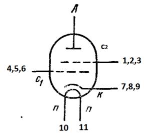 Схема соединения электродов лампы 6П37N