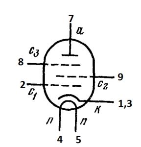 Схема соединения электродов лампы 6П38П