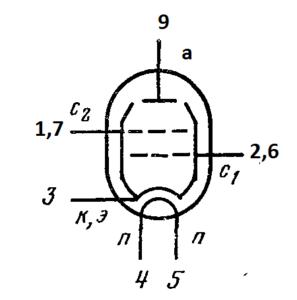 Схема соединения электродов лампы 6П41C