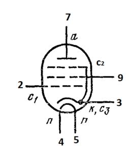 Схема соединения электродов лампы 6П43П