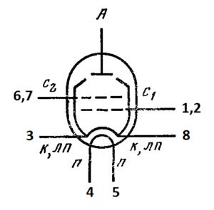 Схема соединения электродов лампы 6П44С