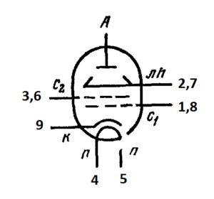 Схема соединения электродов лампы 6П45С