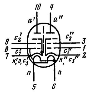 Схема соединения электродов лампы 6Р4П